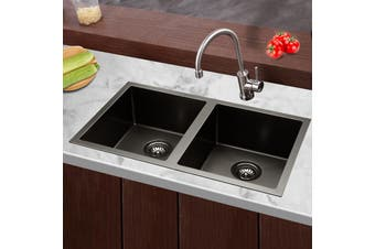 Cefito Kitchen Sink Nano Stainless Steel Laundry Double Bowl Laundry 770x450mm