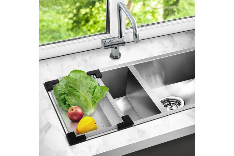 Cefito Kitchen Sink Colander 304 Stainless Steel Drainer Draining Tray Strainer