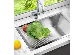 Cefito Kitchen Sink Roll Mat Stainless Steel Handmade Roller Holder 255x450mm