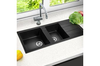 Cefito Granite Stone Kitchen DOUBLE Sink 1160 x 500mm Black Sinks
