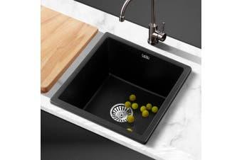 Cefito 80% Granite Kitchen Sink Stone 450 x 450mm Undermount Black Sinks Non Toxic