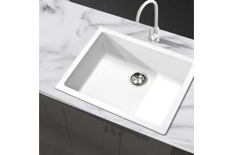 Cefito Premium WHITE Granite Stone Kitchen 610 x 470mm Sink Bowl 9MM Thick  Sinks Anti Scratch