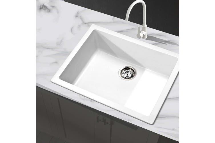 Cefito Premium White Granite Stone Kitchen 610 X 470mm Sink Bowl 9mm Thick Sinks Anti Scratch Matt Blatt