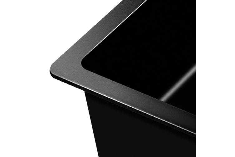 Cefito Premium Granite Stone Kitchen Sink 790 x 450mm Long 9MM Thick Black Sinks Undermount