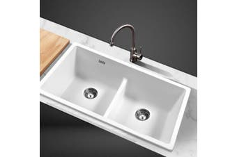 Cefito Kitchen Sink Granite Stone Laundry Top/Undermount Double White 790x460mm