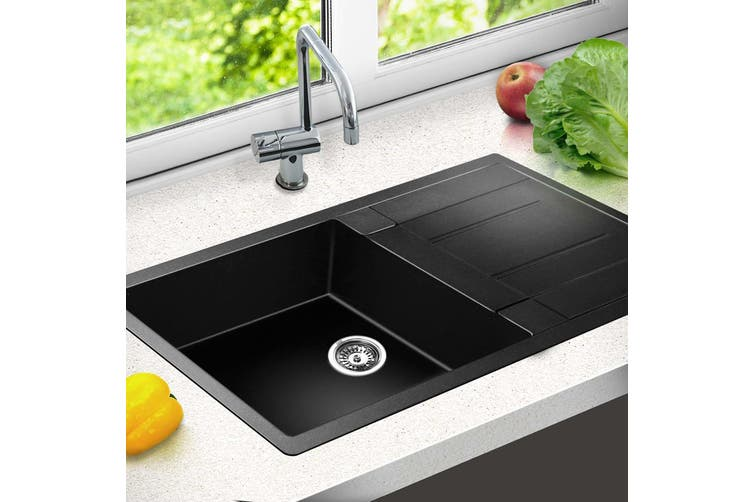 Cefito Premium Granite Stone Kitchen SINGLE  Sink 860 x 500mm Long 9MM Thick Black Sinks Drainer Seam Welded