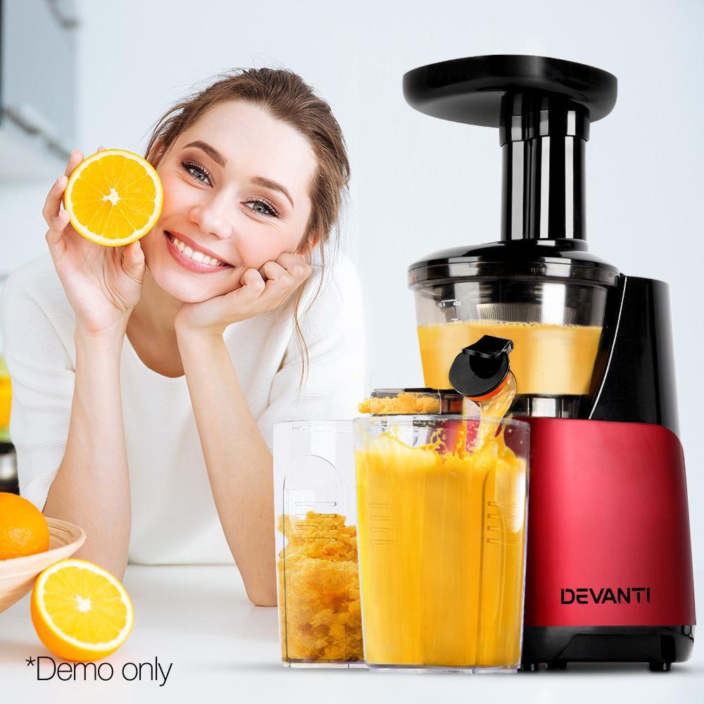 Devanti Cold Press Slow Juicer Fruit Processor Vegetable Mixer Extractor Juice Maker Red