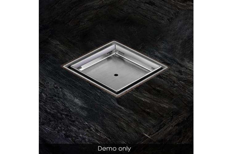 Cefito Shower Grate Tile Insert Drain 115x115mm Stainless Steel Grates Bathroom