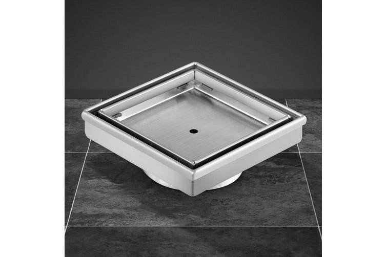 Cefito Shower Grate Tile Insert Drain 115x115mm Stainless Steel Square Bathroom