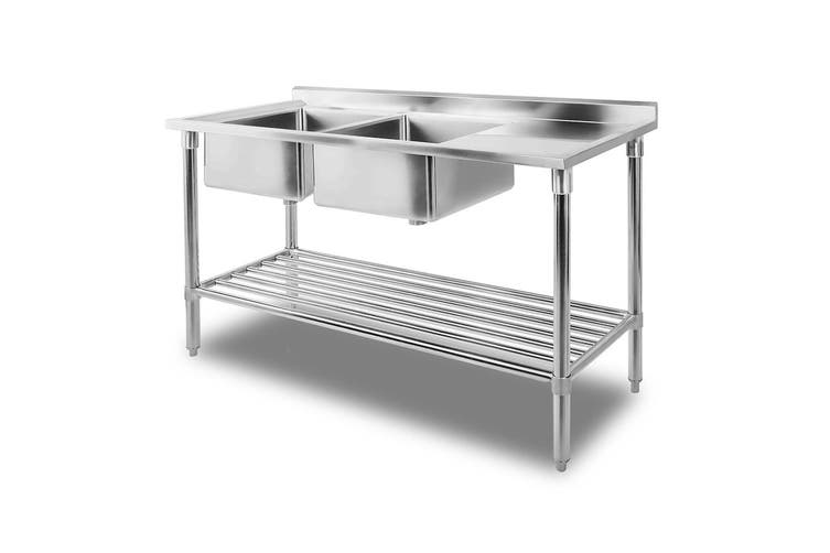 Cefito Stainless Steel Sink Bench Kitchen Work Benches Double Bowl 150x60