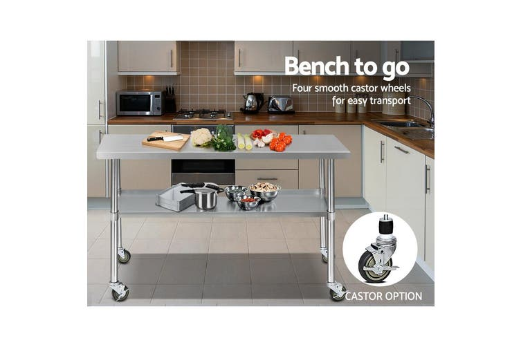Cefito Stainless Steel Kitchen Benches Work Bench Food Prep Table Wheels
