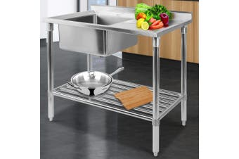Cefito Stainless Steel Sink Bench Kitchen Work Benches Single Bowl 100x60