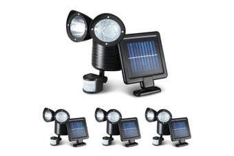 4 x Solar Motion Sensor Light LED 22 Security Outdoor Solar Powered Lights Detection Dual Garden Lamps Panel