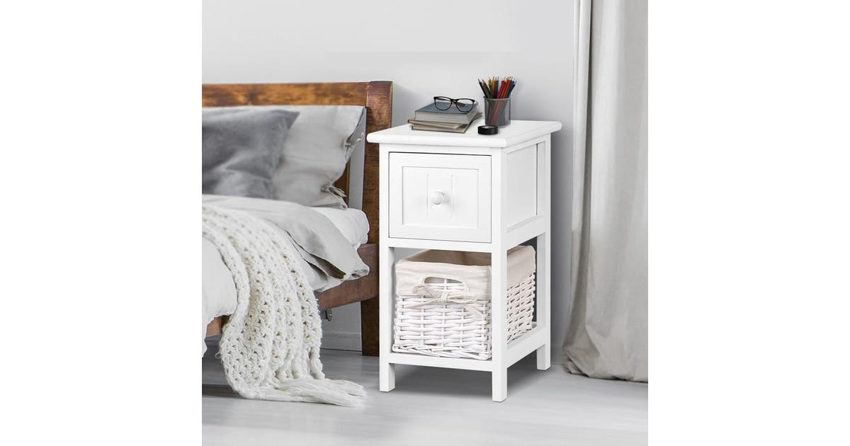 Artiss Bedside Table Set Of 2 Claire Wicker Nightstand White Kogan Com