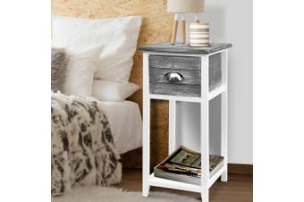 Artiss Bedside Tables Drawers Side Table Storage Cabinet Nightstand Grey Vintage