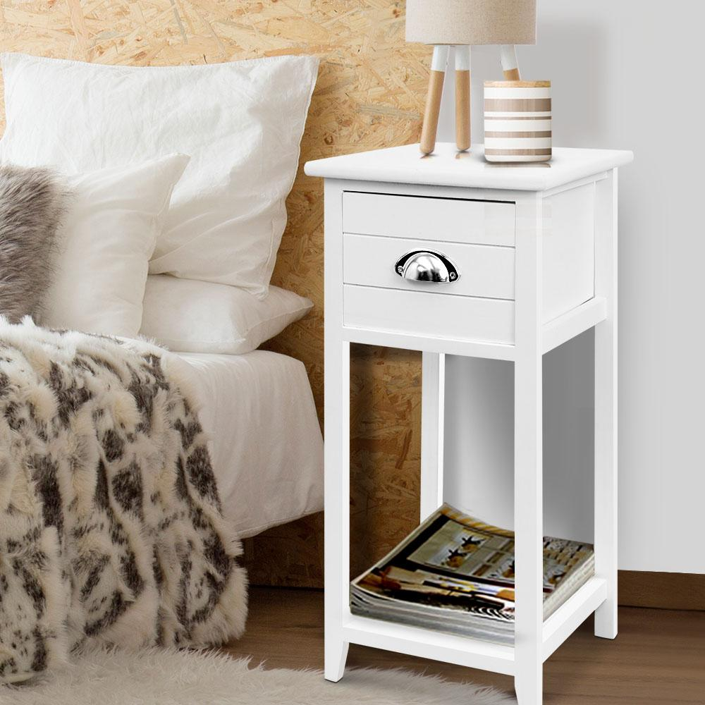 Picture of: Artiss Bedside Tables Drawers Side Table Cabinet Nightstand White Vintage Unit Matt Blatt