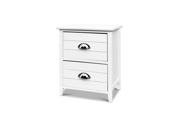 Artiss Bedside Tables Drawers Side Table Cabinet Nightstand White Vintage Unitx2