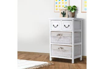 Artiss Bedside Tables Drawers Side Table Basket Bedroom Storage Cabinet White