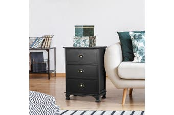Artiss Vintage Bedside Table Drawers Side Table Storage Cabinet Nightstand Black