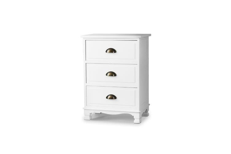 Artiss Vintage Bedside Table Drawers Side Table Storage Cabinet Nightstand White