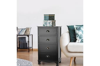 Artiss Vintage Bedside Table Chest of 4 Drawer Storage Cabinet Nightstand Tables