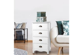 Artiss Vintage Bedside Table Chest of 4 Drawers Storage Cabinet Nightstand White