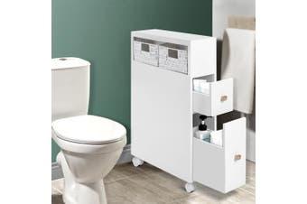 Bathroom Storage Toilet Cabinet Caddy Holder Drawer Basket Wheels