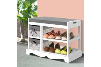 Artiss Shoe Cabinet Bench Shoes Storage Rack Organiser Wooden White Cupboard