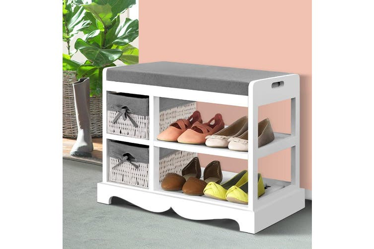 Artiss Shoe Cabinet Bench Shoes Storage Rack Organiser Wooden White Cupboard
