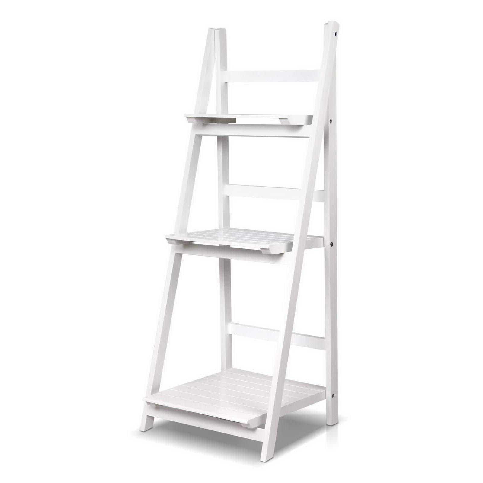 Artiss Wooden Ladder Shelf Display Bookcase 3 Tier Stand Storage Book Shelves