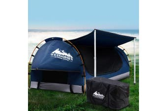 Weisshorn Double Swag Camping Swags Canvas Free Standing Dome Tent Dark Blue w/ 7CM Mattress