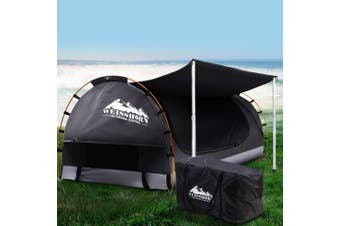 Weisshorn Double Swag Camping Swags Canvas Free Standing Dome Tent Dark Grey w/ 7CM Mattress