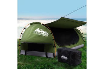 Weisshorn Swag King Single Camping Swags Canvas Free Standing Dome Tent Celadon w/ 7CM Mattress
