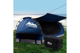 Weisshorn Swag King Single Camping Swags Canvas Free Standing Dome Tent Dark Blue w/ 7CM Mattress