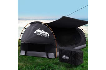 Weisshorn Swag King Single Camping Swags Canvas Free Standing Dome Tent Dark Grey w/ 7CM Mattress