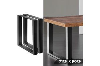 Artiss Set of 2 Metal Box Shape Table Legs 710MM Coffee Dining Steel Vintage Leg with Feet pads Rust resistant