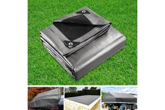 Instahut 3.6 x 4.8m Heavy Duty Poly PE Tarp Silver Canvas Tarpaulin Cover Waterproof Covers Outdoor Shade