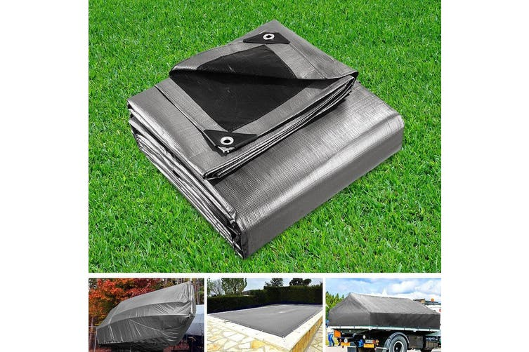 Instahut 3 x 3.6m Heavy Duty Poly PE Tarp Silver Canvas Tarpaulin Cover Waterproof Covers Outdoor Shade