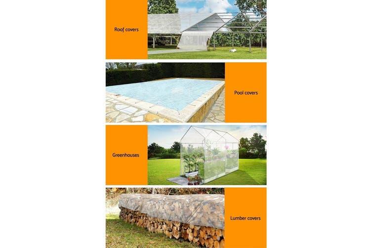 Instahut 2x3M Heavy Duty Clear Poly Tarp Cover Canvas Tarpaulin Covers Waterproof Outdoor Shade