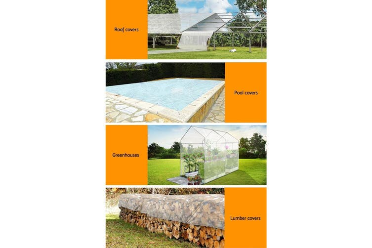 Instahut 3 x 4m Heavy Duty Poly PE Tarp CLEAR Canvas Tarpaulin Cover Waterproof Covers Camping Tent Outdoor Shade
