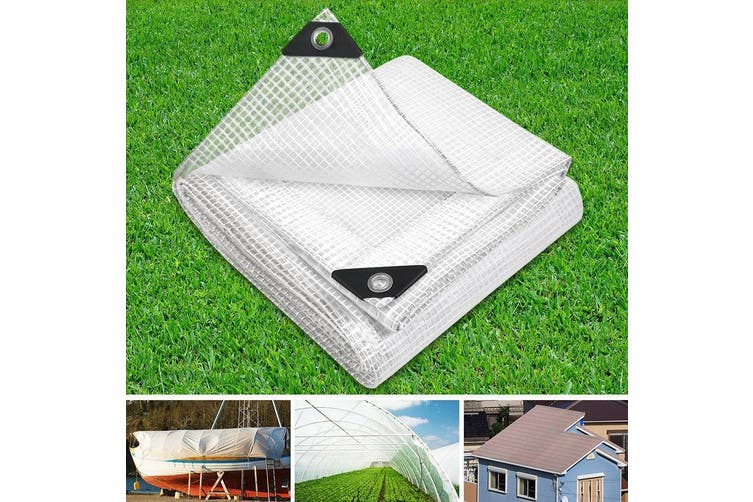 Instahut 5 x 10m Heavy Duty Poly PE Tarp CLEAR Canvas Tarpaulin Cover Waterproof Covers Camping Outdoor Tent Shade