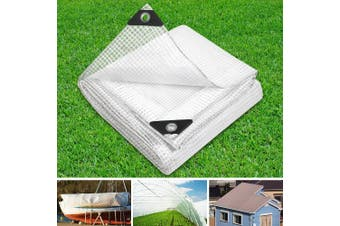 Instahut 5 x 6m Heavy Duty Poly PE Tarp CLEAR Canvas Tarpaulin Cover Waterproof Covers Camping Outdoor Tent Shade