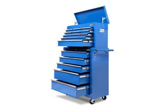 Giantz 14 Drawers Tool Box Chest Toolbox Cabinet Trolley Boxes Organiser Garage Storage BLUE Mechanic Case Roller