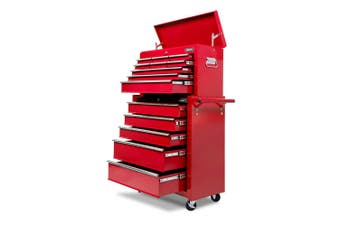 Giantz 14 Drawers Tool Box Chest Toolbox Cabinet Trolley Boxes Organiser Garage Storage RED Mechanic Case
