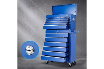 Giantz 15 Drawers Tool Box Chest Toolbox Cabinet Trolley Boxes Organiser Garage Storage BLUE Mechanic Case Roller