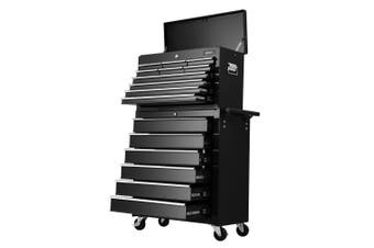 Giantz 16 Drawers Mechanic Tool Box Trolley Toolbox Cabinet BLACK Chest Boxes Organiser Garage Storage Set Case Roller