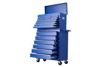 Giantz 16 Drawers Mechanic Tool Box Trolley Toolbox Cabinet BLUE Chest Boxes Organiser Garage Storage Set Case Roller