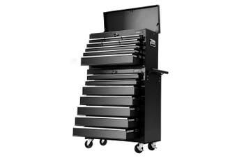 Giantz 16 Drawers Tool Box Chest Toolbox Cabinet Trolley Boxes Organiser Cart Garage Storage BLACK Mechanic Case