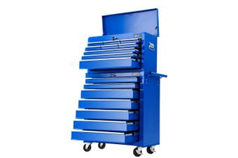 Giantz 16 Drawers Tool Box Chest Toolbox Cabinet Trolley Boxes Organiser Cart Garage Storage BLUE Mechanic Case Roller