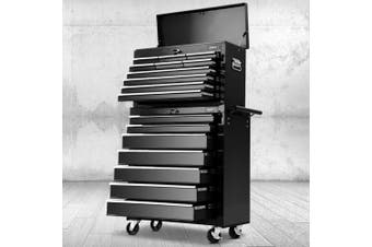 Giantz 17 Drawers Tool Box Chest Toolbox Cabinet Trolley Boxes Organiser Cart Garage Storage BLACK Mechanic Case
